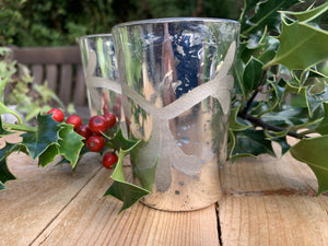 Silver Etched Glass Tealight Holder - Abigailshome