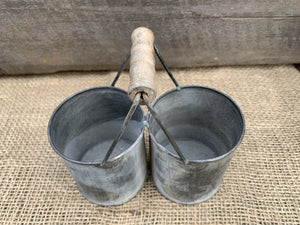 Small Twin Zinc Pots with Handle - Abigailshome