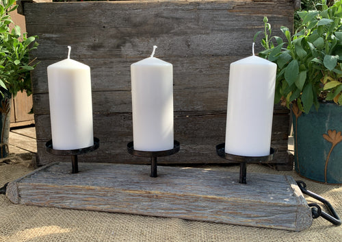 Triple Candle Holder On Wood - Abigailshome