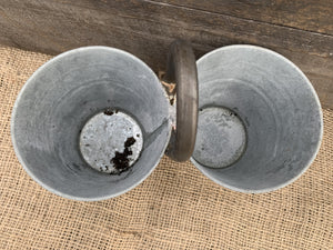 Twin Zinc Pots with Handle - Abigailshome