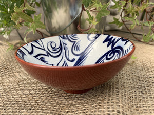 White and Blue Flower Pattern Ceramic Bowl - Small - Abigailshome