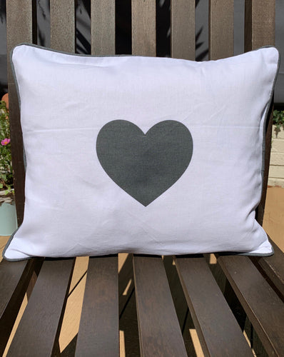 White Rectangular Cushion With Grey Heart - Abigailshome
