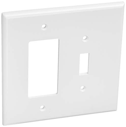 Leviton 88605 2-Gang 1-Toggle 1-Decora/GFCI Device Combination Wallplate, Oversized, Thermoset, Device Mount, White