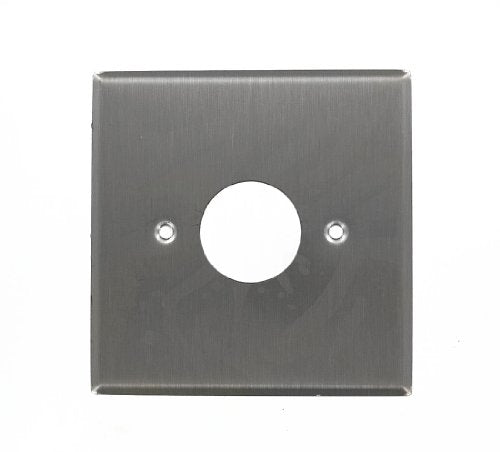 Leviton 84092-40 2-Gang Single 1.406-Inch Diameter, Device Receptacle Wallplate, Standard Size, Device Mount, Stainless Steel