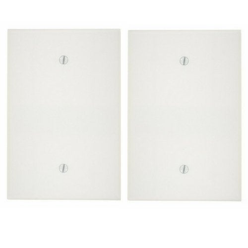 Leviton 88114 1-Gang No Device Blank Wallplate, Oversized, Thermoset, Box Mount, White … (2 Pack)