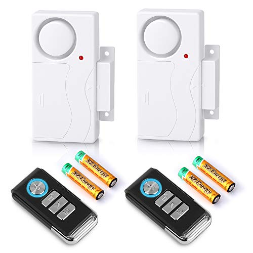 Wsdcam Wireless Door Alarm with Remote 2 Pack, Battery Included, 105 dB Loud Pool Door Alarm, Wireless Door Open Alarms Sensor for Kids Safety Home Security