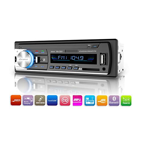 Dansrueus Car Stereo with Bluetooth Universal in-Dash Single Din Car Radio Receiver MP3 Player/USB/SD Card/AUX/FM Radio with Remote Control BK