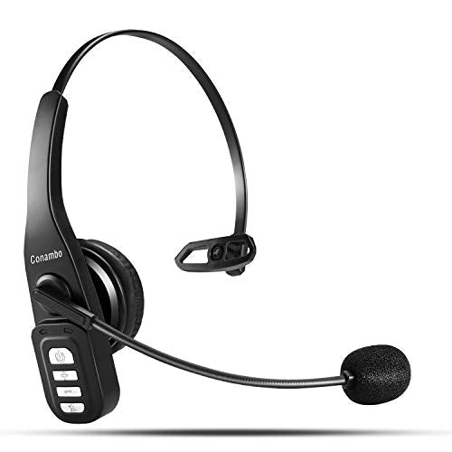 Bluetooth Headset 5.0, 22 Hrs HD Talktime Wireless Headset with CVC6.0 Noise Cancelling Mic Mute Button Hands-Free for Cell Phone iPhone Android Trucker/Business/Office