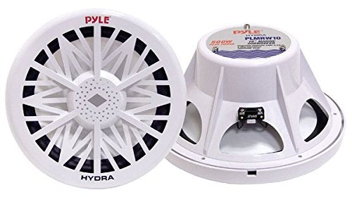 Pyle PLMRW8 8-Inch Outdoor Marine Audio Subwoofer - 400 Watt Single White Waterproof Bass Loud Speaker For Marine Stereo Sound System, Under Helm or Box Case Mount in Small Boat, Water Vehicle