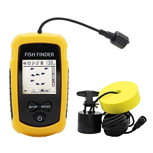 RICANK Portable Fish Finder, Contour Readout Handheld Fishfinder Depth readout 3ft(1m) to 328ft (100m) with Sonar Sensor Transducer and LCD Display 5 Modes Sensitivity Options Fish Depth Finder