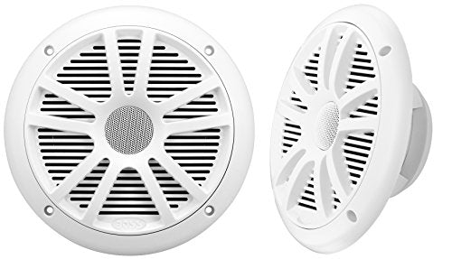 BOSS Audio Systems MR6W 180 Watt Per Pair, 6.5 Inch, Full Range, 2 Way Weatherproof Marine Speakers Sold in Pairs, White