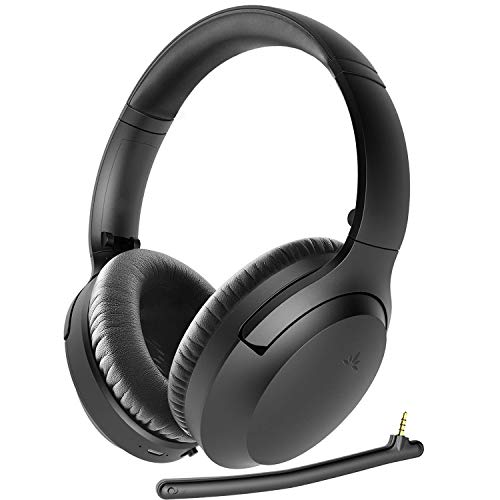 Avantree Aria Bluetooth 5.0 Active Noise Cancelling Headphones Headset for Music & Calls, Boom Microphone, 35H, Over Ear Wireless & Wired 2-in-1 for Phone PC Computer Laptop Office