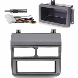 1988-1996 Gray Chevrolet & GMC Complete Single Din Dash Kit + Pocket Kit + Wire Harness + Antenna Adapter. (Chevy - Crew Cab Dually, Full Size Blazer, Full Size Pickup, Suburban, Kodiak) (GMC - Crew Cab Dually, Full Size Pickup Sierra, Suburban, Yukon) (1