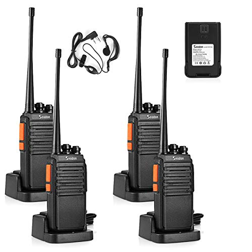 Seodon Walkie Talkies for Adults Long Range with One Extra Battery for Each Radio Rechargeable 4 Pack Up to 5 Miles Range Two Way Radios with Earpiece/Headsets