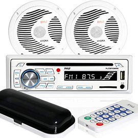 "Marine Stereo Receiver Speaker Kit - In-Dash LCD Digital Console Built-in Bluetooth & Microphone 6.5"" Waterproof Speakers (2) w/ MP3/USB/SD/AUX/FM Radio Reader & Remote Control - Pyle PLCDBT65MRW"
