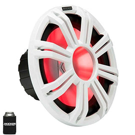 "KICKER KMF122 12"" Marine Subwoofer with LED White Grill 2 Ohm for Free Air Applications"