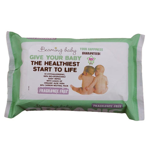 Beaming Baby Certified Organic Baby Wipes Fragrance Free 72 Wipes