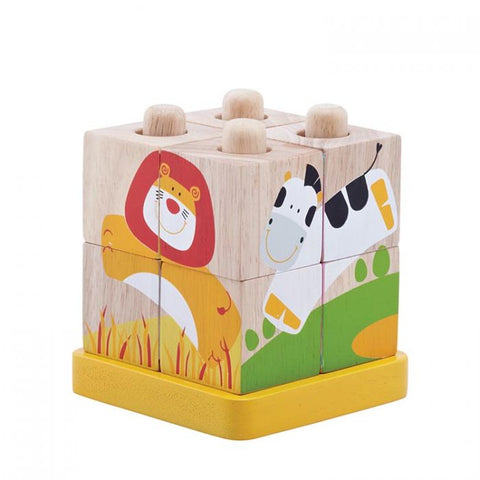 Wonderworld Safari Cubes Wooden Toddler Toy 24+ Months