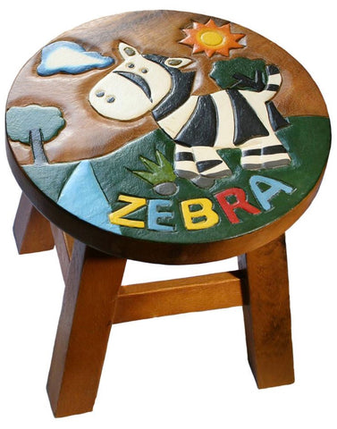 Child's Zebra Wooden Stool
