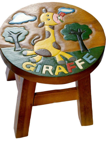 Child's Giraffe wooden stool