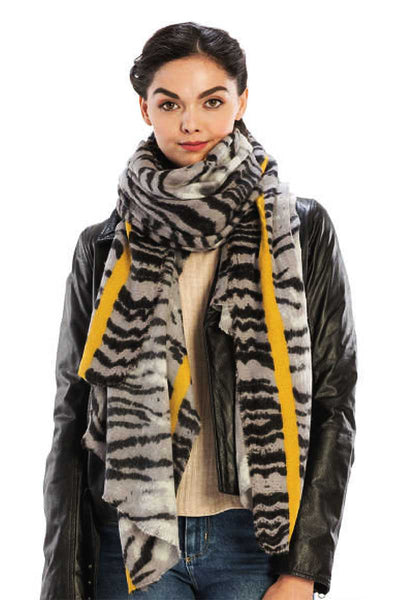 Color Line With Animal Pattern Scarf - Kimmie Jean