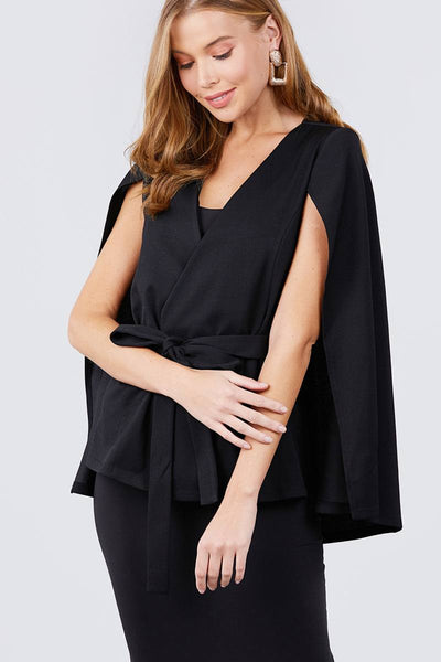 Black Open Peaked Front Cape Jacket - Kimmie Jean