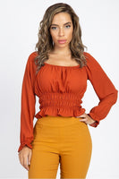 Off Shoulder Ruffle Crop Top in Rust - Kimmie Jean