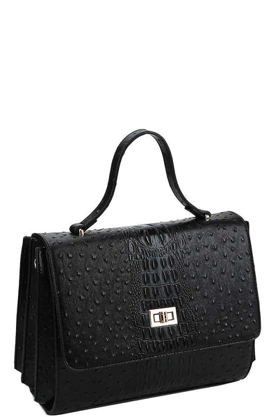 Modern Fashion Croco Pattern Satchel With Long Strap - Kimmie Jean
