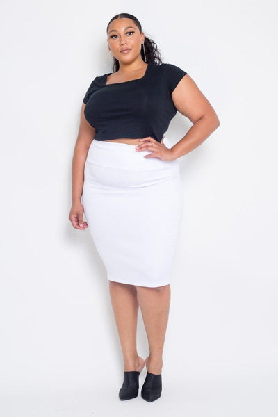 Plus Size Everyday Basic High Waist Pencil Midi Skirt in White - Kimmie Jean