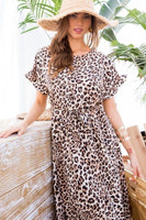 Leopard Over Wrap Waist Belted Maxi Dress - Kimmie Jean