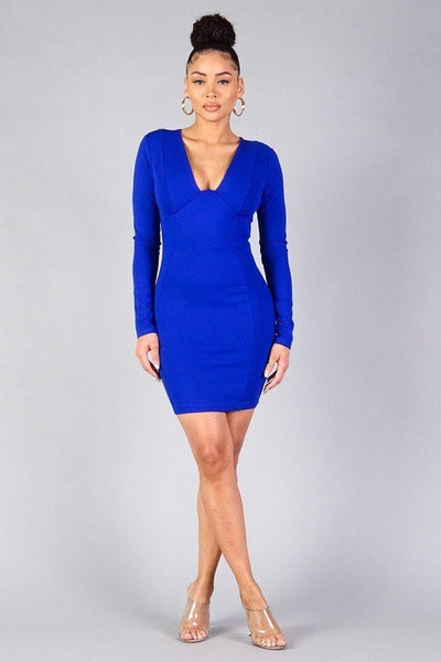Sexy Long Sleeve Underwire Bodycon Mini Dress in Royal Blue - Kimmie Jean