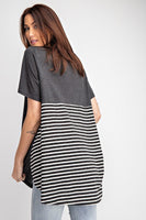 Short Sleeves Rayon Slub Mix And Match Striped Contrast Boxy Top - Kimmie Jean