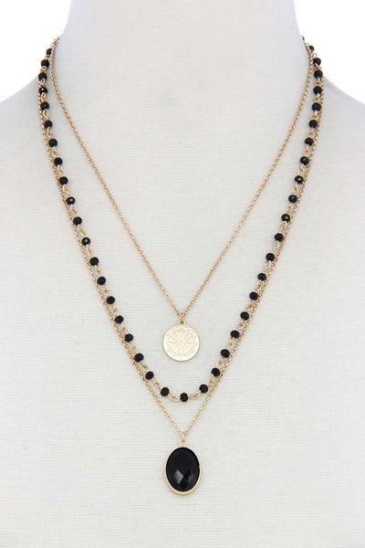 Oval Beaded Layered Necklace - Kimmie Jean