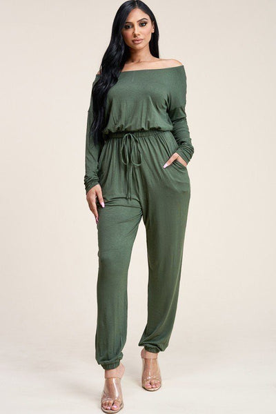 Olive Slouchy Jumpsuit With Pockets - Kimmie Jean