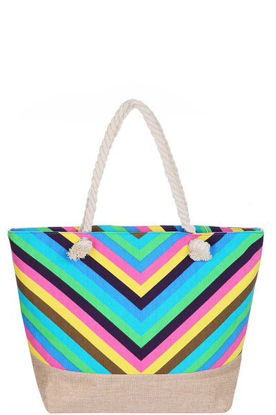 Stylish Rainbow Chevron Pattern Natural Shopper - Kimmie Jean
