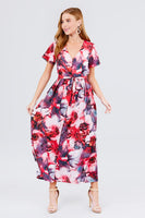 Short Sleeve V-neck Button Down Belted Print Woven Maxi Dress - Kimmie Jean