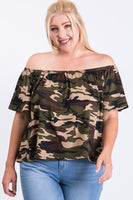 Camo Print Cool Off Shoulder Top - Kimmie Jean