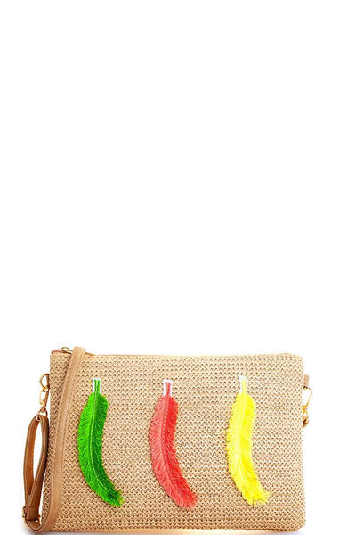 Modern Fashion Woven Feather Clutch With Long Strap - Kimmie Jean