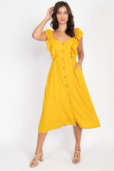 Button Front Ruffle Midi Dress - Kimmie Jean