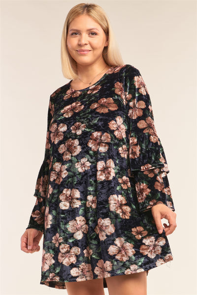 Plus Size Floral Print Velvet Long Layered Hem Sleeve Mini Dress - Kimmie Jean