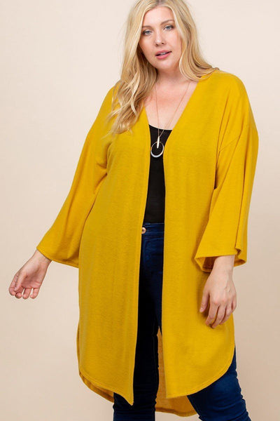 Plus Size Solid Hacci Brush Open Front Long Cardigan With Bell Sleeves - Kimmie Jean