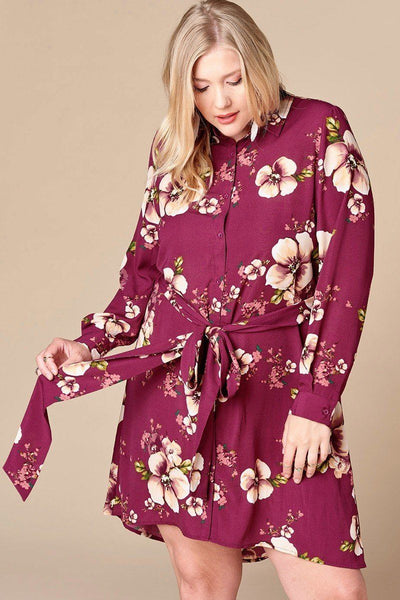 Floral Woven Button-down Collared Shirt Dress - Kimmie Jean
