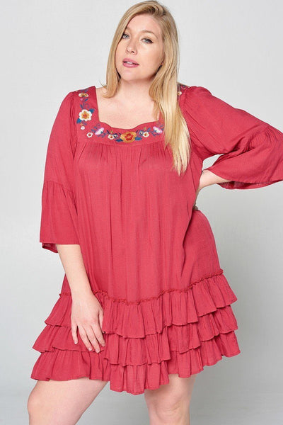 Light Up The Room With This Beautiful Floral Embroidered Shift Dress - Kimmie Jean