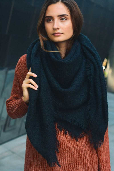 Mohair Open Work Square Blanket Scarf - Kimmie Jean