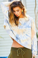 Round Neck Oversize Fit Crop Tie-dye French Terry Pullover - Kimmie Jean