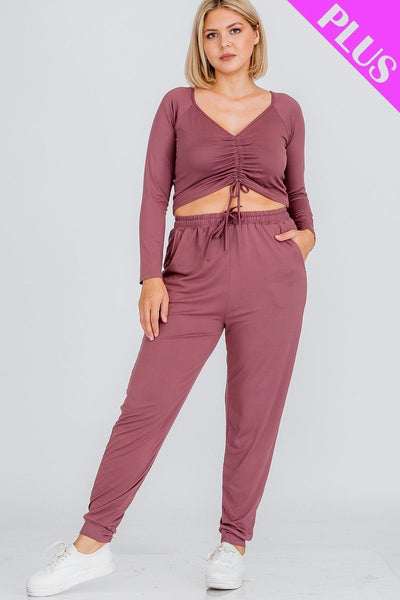 Plus Size Strap Ruched Top And Jogger Pants Set - Kimmie Jean