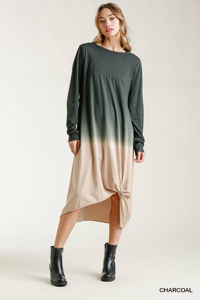Ombre Front Knot Detail Long Sleeve Maxi Dress With Raw Hem - Kimmie Jean