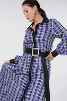 Plaid Shirt Maxi Dress With Gold Buckle Belt - Kimmie Jean