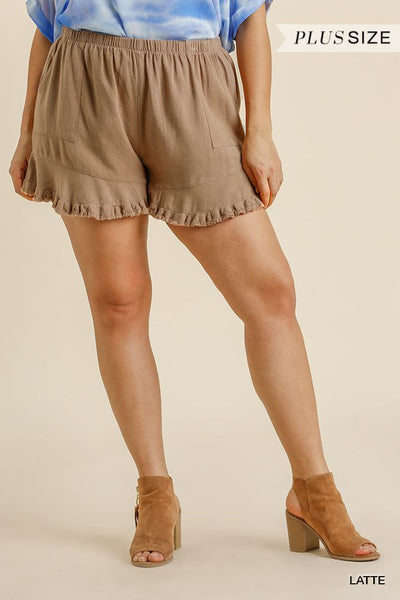 Linen Blend Elastic Waist Ruffle Hem Shorts With Pockets - Kimmie Jean
