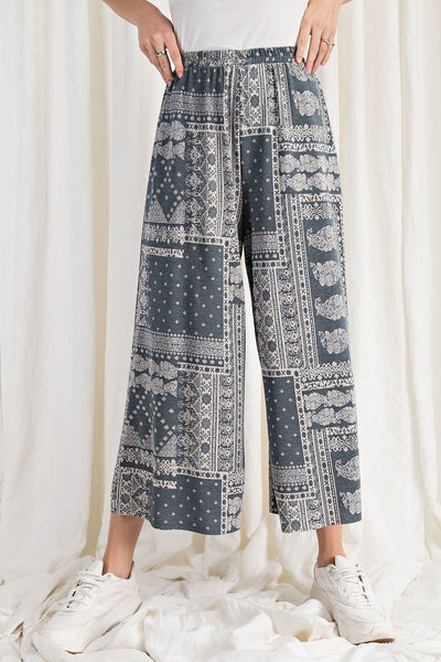 Printed Terry Knit Wide Leg Comfy Pants - Kimmie Jean
